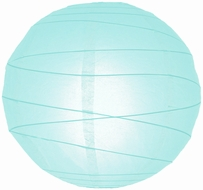 """8"""" Arctic Spa Blue Round Paper Lantern, Irregular Ribbed, Hanging (Light Not Included)"""
