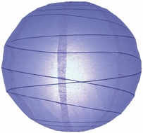 """8"""" Astra Blue Round Paper Lantern, Crisscross Ribbing, Hanging (Light Not Included)"""