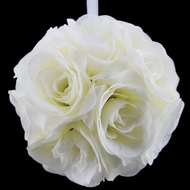 "8"" Beige / Ivory Rose Flower Pomander Small Wedding Kissing Ball for Weddings and Decoration"