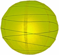 """8"""" Chartreuse Yellow Green Round Paper Lantern, Crisscross Ribbing, Hanging (Light Not Included)"""