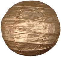 """8"""" Gold Round Paper Lantern, Crisscross Ribbing, Hanging (Light Not Included)"""