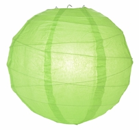 """BLOWOUT 8"""" Grass Green Round Paper Lantern, Crisscross Ribbing, Hanging (Light Not Included)"""