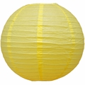 "8"" Lemon Yellow Chiffon Round Paper Lantern, Even Ribbing, Hanging  (Light Not Included)"