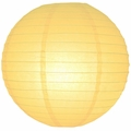 "8"" Light Yellow Round Paper Lantern, Even Ribbing, Hanging  (Light Not Included)"