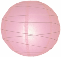 """8"""" Pink Round Paper Lantern, Crisscross Ribbing, Hanging (Light Not Included)"""