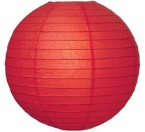 """8"""" Red Round Paper Lantern, Even Ribbing, Hanging (Light Not Included)"""
