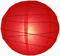 """8"""" Red Round Paper Lantern, Crisscross Ribbing, Hanging (Light Not Included)"""