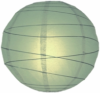 """BLOWOUT 8"""" Sea Green Round Paper Lantern, Crisscross Ribbing, Hanging (Light Not Included)"""
