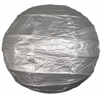"""8"""" Silver Round Paper Lantern, Crisscross Ribbing, Hanging (Light Not Included)"""