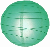 """8"""" Teal Green Round Paper Lantern, Crisscross Ribbing, Hanging (Light Not Included)"""