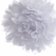 "8"" White Tissue Paper Pom Pom Flowers, Hanging Decorations (4 PACK)"