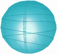"""8"""" Turquoise Round Paper Lantern, Crisscross Ribbing, Hanging (Light Not Included)"""