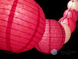 "8"" Valentine's Day Pink Mix Paper Lantern String Light COMBO Kit (13.5FT, EXPANDABLE, White Cord)"