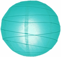 """8"""" Water Blue Round Paper Lantern, Crisscross Ribbing, Hanging (Light Not Included)"""