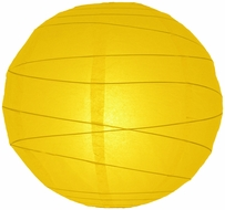 """8"""" Yellow Round Paper Lantern, Crisscross Ribbing, Hanging (Light Not Included)"""