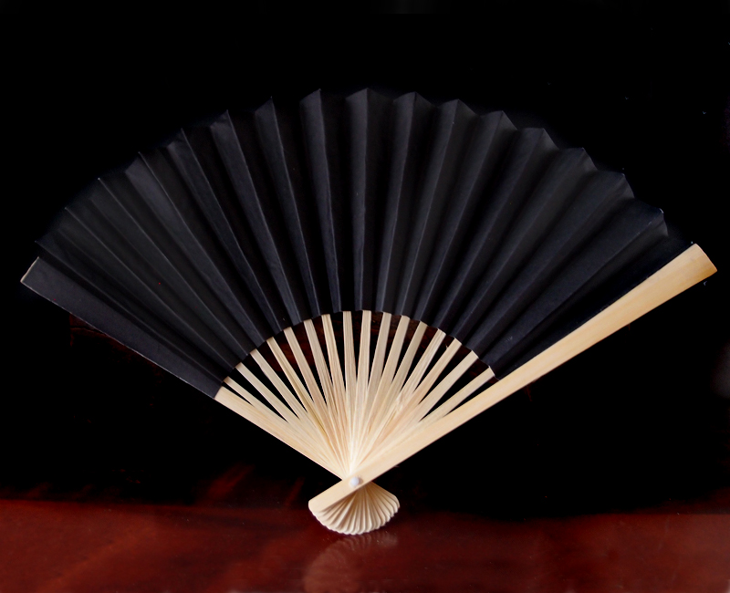 9 Quot Black Chinese Folding Paper Hand Fan For Weddings On Sale Now Oriental Paper