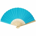 """9"""" Turqouise Paper Hand Fan w/ Bamboo Handle"""