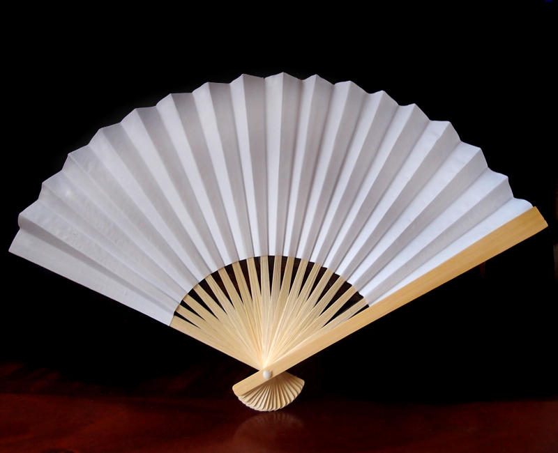 9 Quot White Chinese Folding Paper Hand Fan For Weddings On