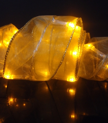 Amber Battery Operated Organza Ribbon Light From