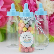 Baby Boy Milk Bottle Candy Favor Gift Container - 5 in (12-PACK)