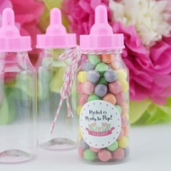 Baby Girl Milk Bottle Candy Favor Gift Container - 5 in (12-PACK)