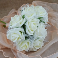 Beige/Ivory Cream 5-Rose Realistic Bridal Floral Wedding Bouquet w/ Tulle & Glitter