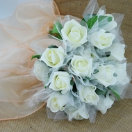 Beige/Ivory Cream 8-Rose Realistic Bridal Floral Wedding Bouquet w/ Tulle