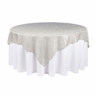 Beige / Ivory Square Pintuck Chameleon Table Cloth Overlay Cover - 72 x 72 Inch