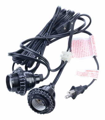 Double Socket Pendant Light Cord Kit for Lanterns (17FT, Black) (Discontinued)