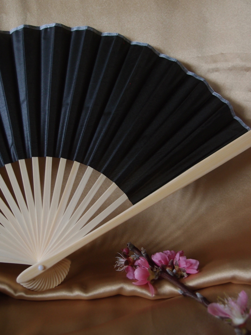 9 Quot Black Chinese Folding Silk Hand Fan For Weddings On