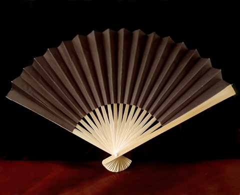 "9"" Brown Chinese Folding Paper Hand Fan w/ White Organza Bag for Weddings (Discontinued)"