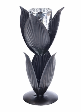 Six Leaf Candle Holder w/Silver Cup (Discontinued)