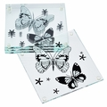BLOWOUT White Butterfly Glass Coaster Favor