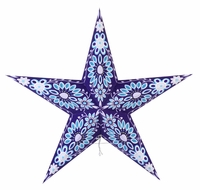 """BLOWOUT 24"""" Blue and Light Purple Sunflower Paper Star Lantern, Hanging (Light Not Included)"""
