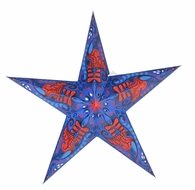 """BLOWOUT 24"""" Blue and Red Swan Paper Star Lantern, Hanging (Light Not Included)"""