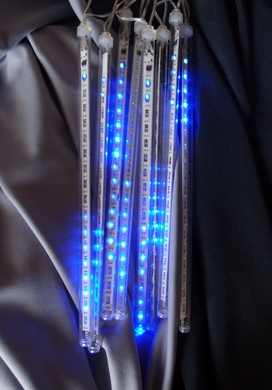 136 (8 Tubes) Blue LED Icicle Snowfall Rain Christmas Tube String Lights, 12.5FT, Clear Cord