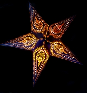 """24"""" Blue on Yellow Mehandi Paper Star Lantern, Hanging (Light Not Included)"""