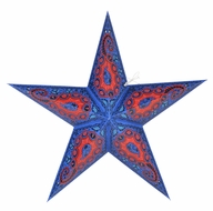"""24"""" Blue Paisley Paper Star Lantern, Hanging (Light Not Included)"""