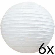 "BULK PACK (6) 18"" White Round Paper Lanterns, Even Ribbing, Hanging (Light Not Included)"