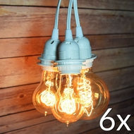 BULK PACK (6) Triple Socket Pendant Light Cord Kits for Lanterns (19FT, UL Listed, White)