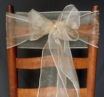 Champagne Organza Chair Sashes (9FT, 10 Pack)