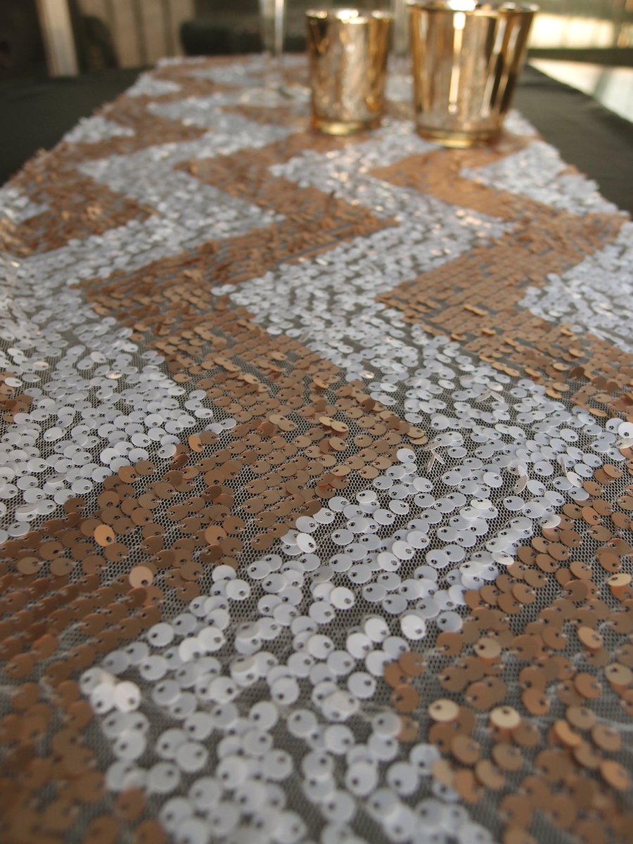 Chevron Sequin Table Runner Champagne Amp White