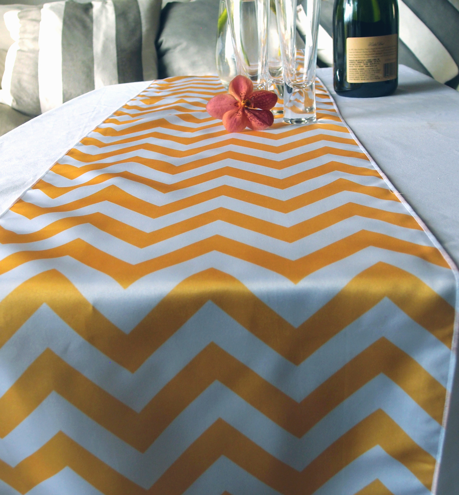 Table Runner yellow table  runner Yellow  Chevron
