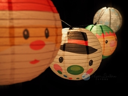"""14"""" Christmas Holiday Character Mix Paper Lantern String Light COMBO Kit (22.5FT, EXPANDABLE, White Cord)"""