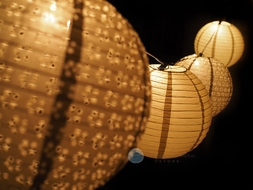 "8"" Christmas Holiday Gold Eyelet Paper Lantern String Light COMBO Kit (13.5FT, EXPANDABLE, White Cord)"