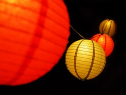 """8"""" Christmas Red and Gold Paper Lantern String Light COMBO Kit (12 FT, EXPANDABLE, White Cord)"""