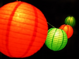 """8"""" Christmas Holiday Red and Green Paper Lantern String Light COMBO Kit (13.5FT, EXPANDABLE, White Cord)"""