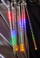 136 (8 Tubes) RGB LED Icicle Snowfall Rain Christmas Tube String Lights, 12.5FT, Clear Cord