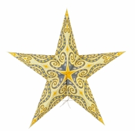 """24"""" Light Yellow Moury Screen Paper Star Lantern, Hanging (Light Not Included)"""