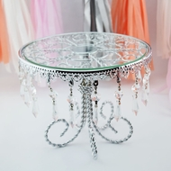Designer Crystal Metal and Glass Round Cake Stand - 8.5 Inch, Bejeweled